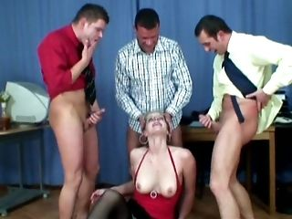 Anal Sex, Blonde, Blowjob, Clothed Sex, Doggystyle, Gangbang, Glasses, Hardcore, Horny, Lingerie,