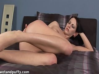 Anal Toying, Bedroom, Brunette, Jerking, Masturbation, Model, Natural Tits, Pussy, Sex Toys, Solo,