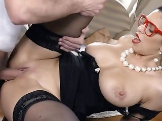 Babe, Beauty, Big Tits, Blowjob, Brunette, Cumshot, Desk, Extreme, Facial, Glasses,