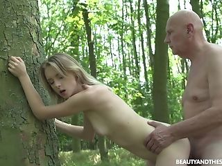 Blonde, Couple, Experienced, Forest, Old, Outdoor, Pretty, Teen, Young,