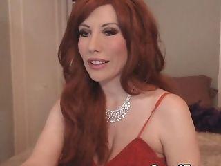 Babe, Dress, Fishnet, Gorgeous, Redhead, Webcam,