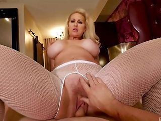 Babe, Ball Licking, Bareback, Big Tits, Blonde, Blowjob, Couple, Cowgirl, Fake Tits, Fishnet,
