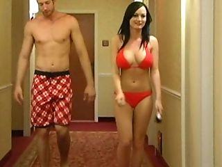 Bedroom, Big Tits, Bikini, Brunette, Dick, From Behind, Hotel, Melissa Lauren, Riding, Rough,