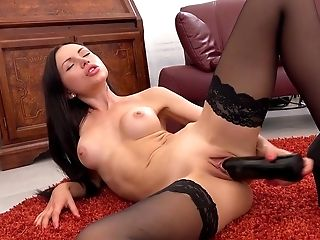 Babe, Brunette, Close Up, Couch, Dildo, HD, Huge Dildo, Lingerie, Masturbation, Moaning,