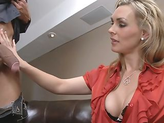 Big Tits, Blonde, Blowjob, Clothed Sex, Couch, Deepthroat, Dick, Licking, Lingerie, Mature,
