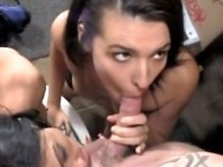 Blowjob, Brunette, Cumshot, Deepthroat, Dick, Glory Hole, HD, Huge Tits, MFF, MILF,