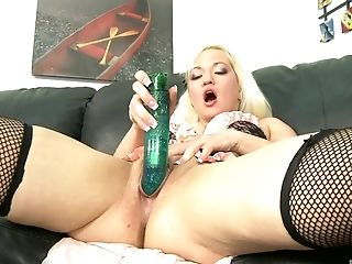 Blonde, Bra, Dildo, Fishnet, Jerking, Lingerie, Long Hair, Moaning, Natural Tits, Pussy,