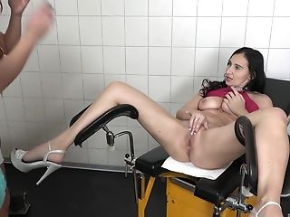 Bra, Clothed Sex, Cute, Doctor, Doggystyle, FFM, Fingering, Hardcore, High Heels, Long Hair,