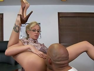 Big Ass, Big Black Cock, Big Cock, Blonde, Clothed Sex, Cute, Desk, Fat, From Behind, Glasses,